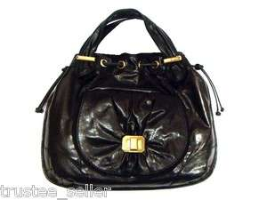 NWT JUICY COUTURE Black Monaco Genuine Leather Shoulder Hobo Tote Bag