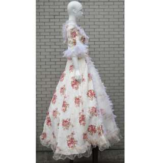 Edwardian Floral Marie Antoinette Masquerade Ball Gown Prom Dress M L