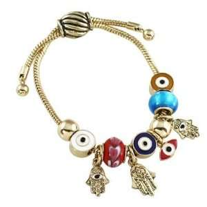 Gold Tone Adjustable Hamsa & Evil Eye Charm & Murano Glass Bead