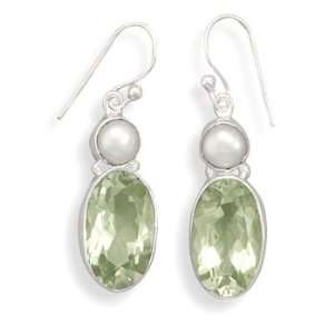 CleverSilvers Green Amethyst and Cultured Freshwater Pearl
