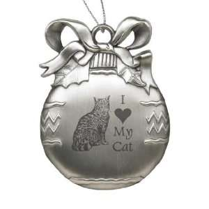 Solid Pewter Christmas Ornament   I Love My Cat Sports
