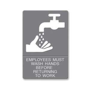 U.S. Stamp & Sign ADA Wash Hands Sign   Gray/White