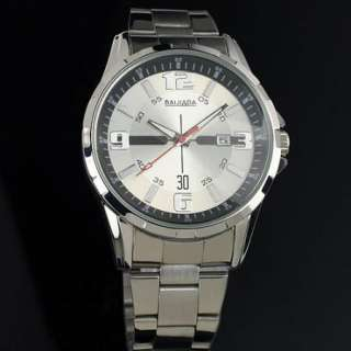 New Silver White Dial Hands Date Analog Wrist Quartz Mens Stainless