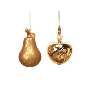 Club Pack of 24 Winter Solace Gold Glass Apple and Pear