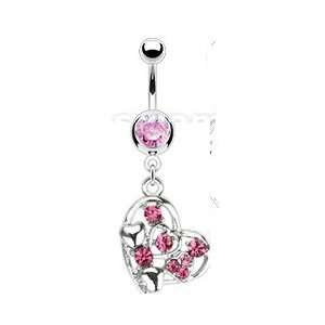 Steel Multi Pink Hearts Paved Gem Navel Ring Jewelry