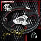 PVC LEATHER ALUMINUM 32CM RACING STEERING WHEEL W/SL THUMB REST