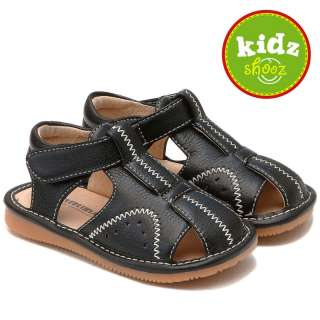 Boys Infant Toddler Leather Squeaky Shoes Sandals Black