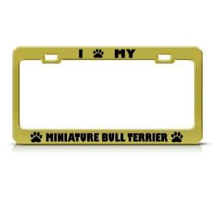 Miniature Bull Terrier Dog Metal License Plate Frame Tag