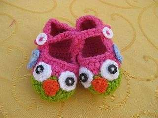Hot pink with Green/Lime owl crochet Bootie shoes newborn 12mo