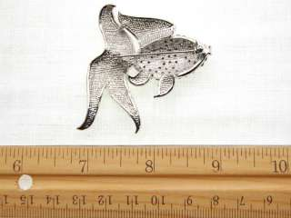 Silver Tone Swimming Sea Gold Fish Fancy Tail Costume Cute Brooch Pin