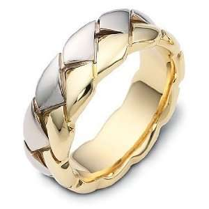 Polish 14 Karat Two Tone Gold Unique Wedding Band Ring   6.25 Jewelry