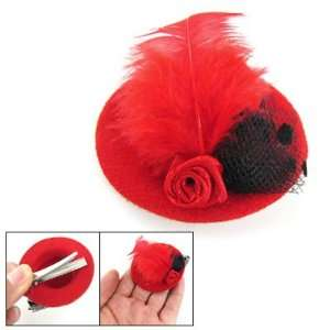 Rosallini Red Mini Hat Shape Accent Metal Hair Clip for