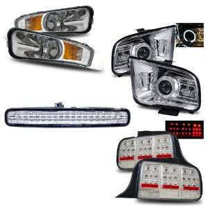 05 09 Ford Mustang Chrome LED Halo Projector Headlights (2010 Style