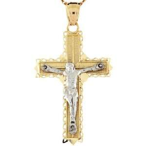 14k Two Tone Gold Diamond Cut Cross Crucifix Jesus Religious Pendant