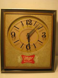 1975 MILLER HIGH LIFE BEER LOGO LIGHTED CLOCK SIGN