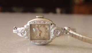 Acme Solid 14k White Gold & Diamond Ladies Wristwatch