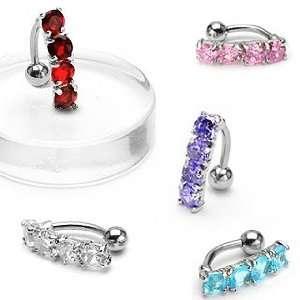 Belly Ring with Top Drop Four Pink Gems   14G   3/8 Bar Length   Sold