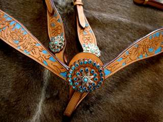 HORSE BRIDLE BREAST COLLAR WESTERN LEATHER HEADSTALL BLING RODEO TACK