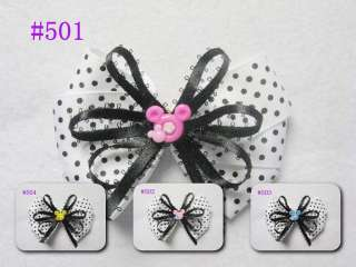 10 baby girl hair bows alligator clip 3.5 4 without headband #501 512