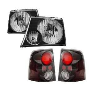 02 05 Ford Explorer Black Headlights + Tail Lights Combo