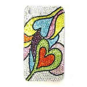 Clear & Multi Color Picasso Double Hearts Pattern Bling Apple IPhone 4