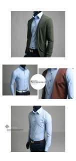 Guys_New Casual Dress Slim Fit Shirts 3Button Down Blue no.23