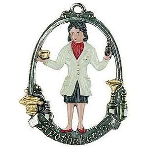 Female Pharmacist German Pewter Christmas Ornament