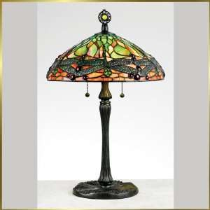 Tiffany Table Lamp, QZTF6784VB, 2 lights, Antique Bronze, 14 wide X