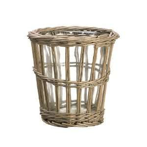7dx7h Willow Basket W/Glass Vase Gray (Pack of 4)