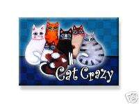 CAT MAGNET CRAZY kitty Siamese Black cat tabby cat red