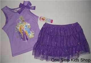 DISNEY PRINCESS Girls 4 5 6 6X Set OUTFIT Shirt Skirt Tutu RAPUNZEL