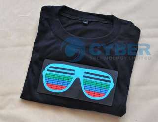 Sound Activated Glasses Pattern Hip Hop EL LED T  Shirt