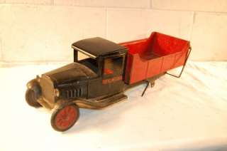 BUDDY L PRESSED STEEL TOY DUMP TRUCK roughly 20 1/2 inches long