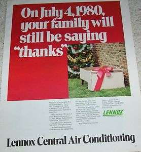 1970 Lennox Air Conditioning Heating Christmas PRINT AD