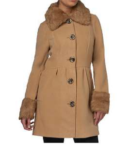 Camel (Stone ) Faux Fur Trim Coat  236047917  New Look