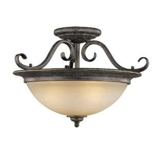 Bronze Mont Blanc Tuscan Three Light Down Lighting Semi Flush Ceil