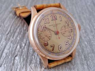 BAUME & MERCIER CHRONOGRAPH WATCH GOLD 18K MEN MANUAL WIND 1950