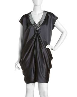 Nicole Miller Draped Satin Shift Dress