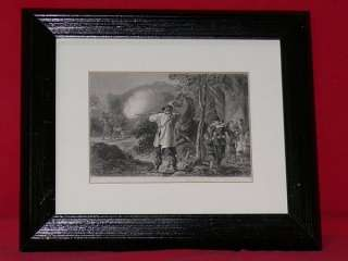 c1860 ENGRAVING NATIVE AMERICAN INDIANS ATTACK SETTLERS