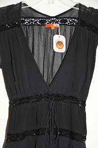 NWT MICHELLE JONAS BLACK SILK CHIFFON CAP SLEEVE DRESS ORG $265 SIZE