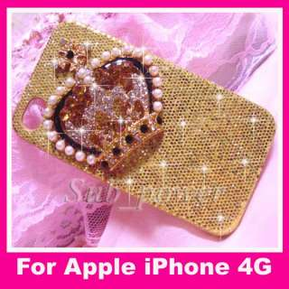 3D Rhinestone Crown Bling Case cover for iPhone 4G B16