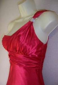 LOGAN Red One Shoulder Satin Ruched Formal Gown Dress 1/2