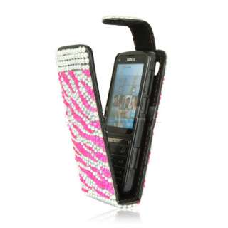 HOT PINK ZEBRA LEATHER BLING FLIP CASE FOR NOKIA C3 01