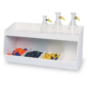 TrippNT 50065 White PVC Plastic Lab Storage Bin with 4 Fixed