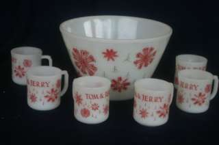Fire King Tom & Jerry Punch Bowl 6 Cups Snow Flake 50s