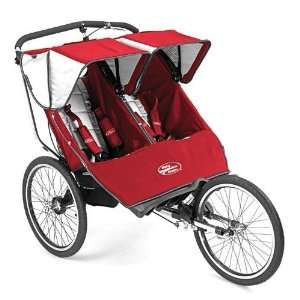 Series Double Jogging Stroller with 20 Wheels in Red/Silver Baby