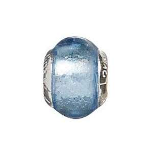 Sterling Silver Blue Ice Bead with Murano Glass For Charm Bracelets