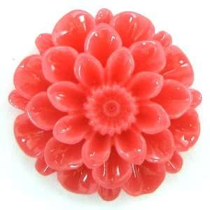 pink coral carved chrysanthemum flower pendant bead