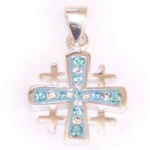 Cross with Swarovski Crystal stones   Light Blue and White stones