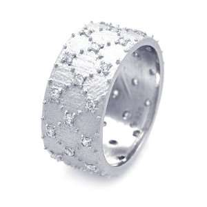 Sterling Silver Wide CZ Band Ring Size 8 Jewelry